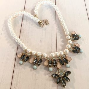 Faux Pearl & Crystals Necklace